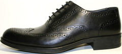 Мужские классические туфли черные оксфорды. Кожаные броги Luciano Bellini 368-4