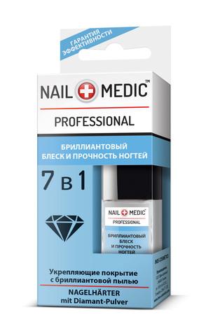 Ines Nail Medic Бриллиантовый блеск и прочность ногтей 7 в 1 Укрепляющее покрытие с бриллиантовой пылью
