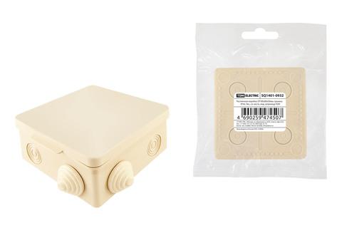 Распаячная коробка ОП 80х80х50мм, крышка, IP54, 7вх., сл. кость, инд. штрихкод TDM