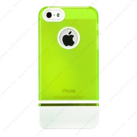 Накладка MOBILE 7 для iPhone SE/ 5s/ 5C/ 5 салатовый верх белый низ