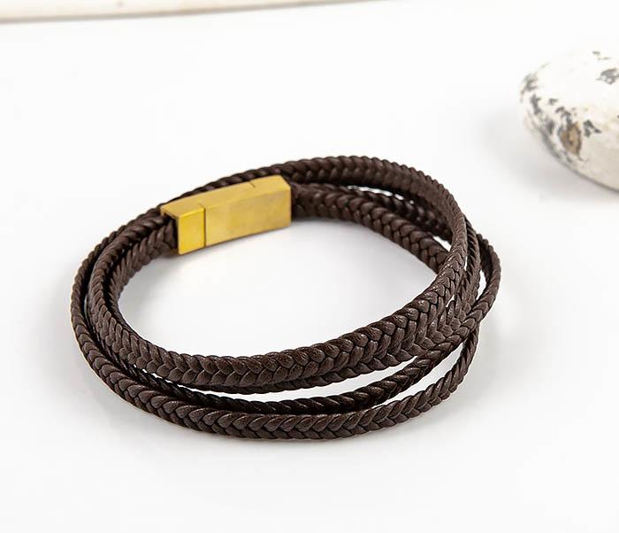 BM561-2 Мужской браслет из плетеного шнура коричневого цвета фото 02