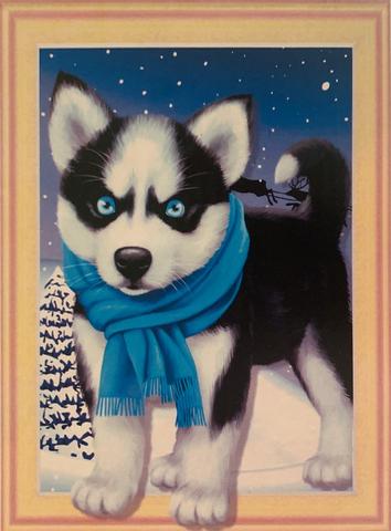 Алмазная Мозаика 5D Щенок хаски в голубом шарфе (арт. LTH0431)