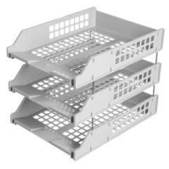 Лоток для бумаг горизонтальный Стамм Strong на металлических стержнях серый (3 штуки в упаковке)