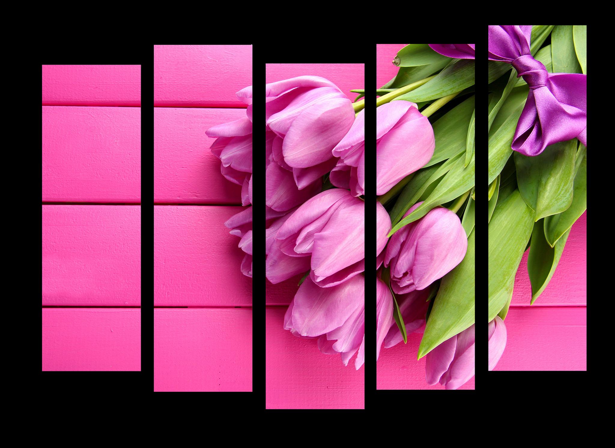 """Модульные картины Модульная картина """"Нежно-розовые тюльпаны"""" М1144.png"""