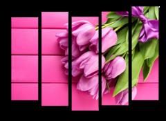 """Модульная картина """"Нежно-розовые тюльпаны"""""""