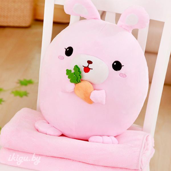 Игрушки с пледом Заяц с пледом Розовый rabbit_roz2.jpg