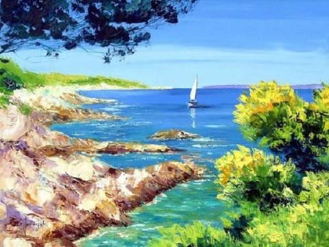 Картина раскраска по номерам 30x40 Корабль идет к берегу