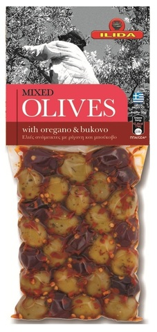 Оливки микс с орегано и буково OLIVES с косточкой 150 гр