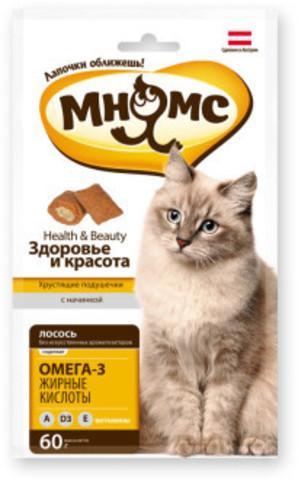 Мнямс хрустящие подушечки для кошек с лососем