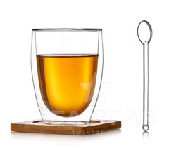 Чашка с двойными стенками с подставкой и ложкой, 350 мл