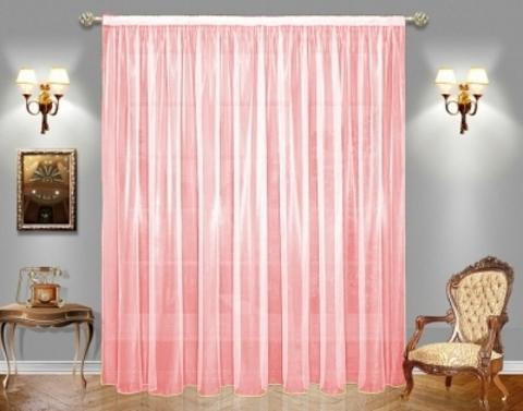 Готовая штора Органза розовый разная ширина