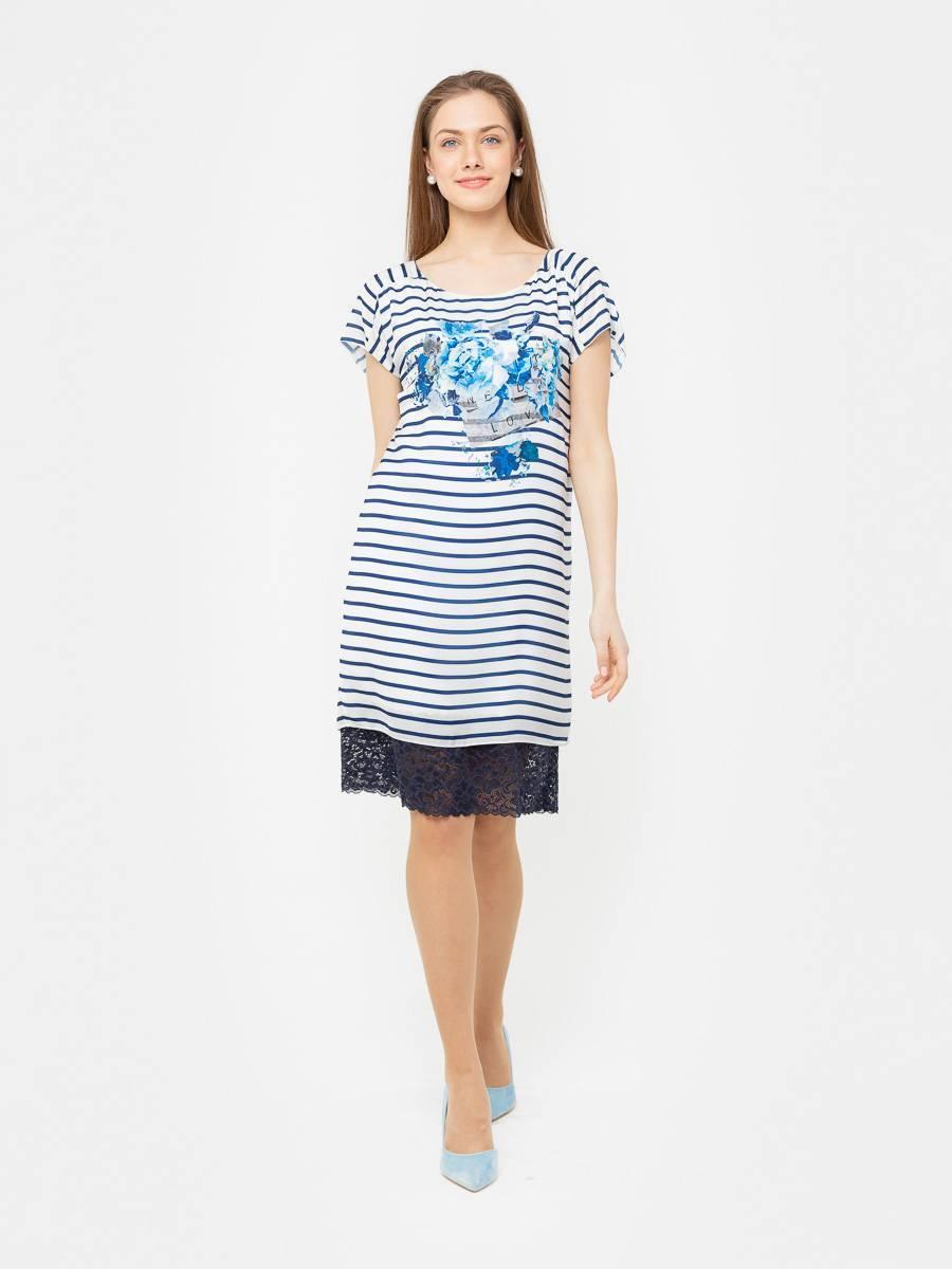 Платье З181-737 - Платье прямого силуэта со спущенной линией плеча. Кружево пришито к подкладке. Актуальная и стильная полоска в морском стиле, станет изюминкой вашего летнего гардероба.