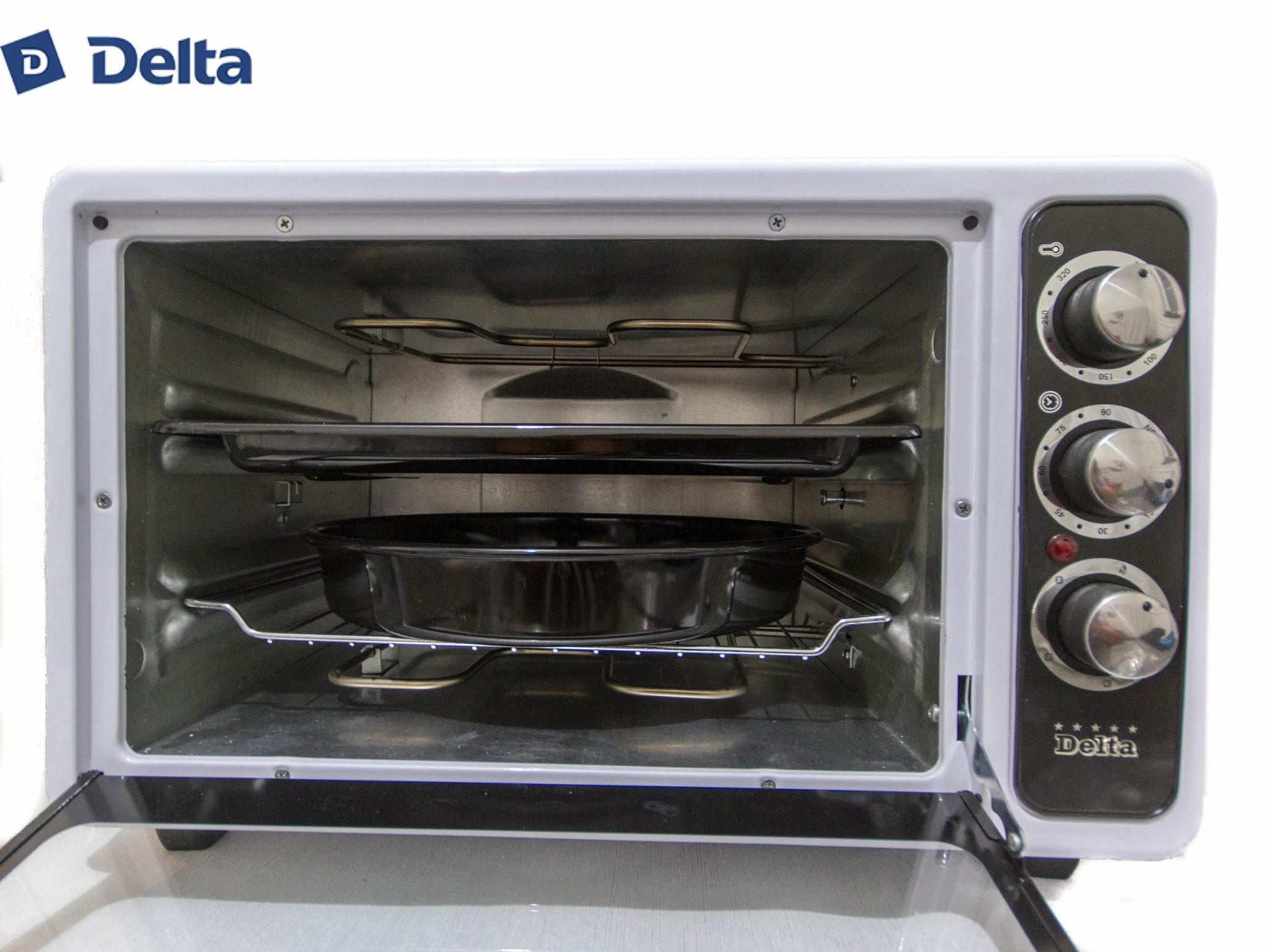 Духовка электрическая 2в1 40л DELTA D-025А с функцией приготовления шашлыка белая