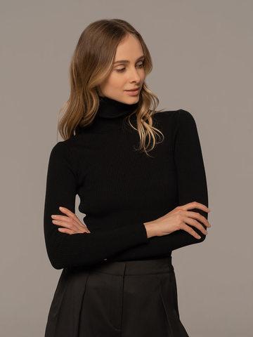 Женский свитер черного цвета из 100% шерсти - фото 2