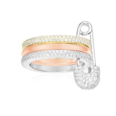 Кольцо с булавкой из трехцветного серебра в стиле APM MONACO