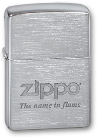 Зажигалка Zippo Name in flame с покрытием Brushed Chrome, латунь/сталь, серебристая, матовая123