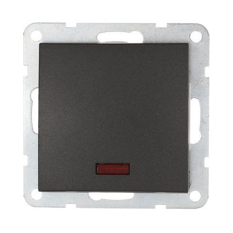Выключатель одноклавишный, c индикатором (схема 1L) 16 A, 250 В~. Цвет Чёрный бархат. LK Studio LK60 (ЛК Студио ЛК60). 860208