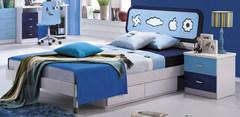 """Спальня """"Бамбино (Bambino) (MK-4600-BL)"""" (Кровать детск. 120x200 (MK-4601-BL) - Тумбочка прикр. —  Синий"""