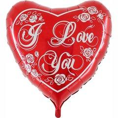Шар Сердце с розами I Love You