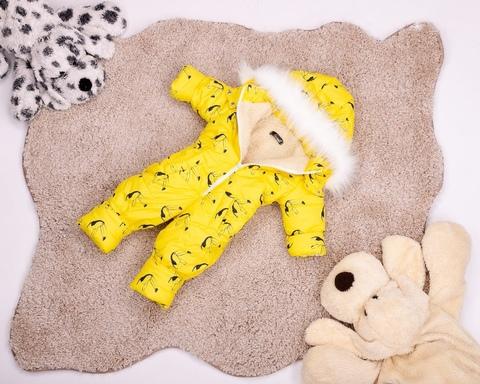 Цельный зимний комбинезон детский на овчине Look желтый