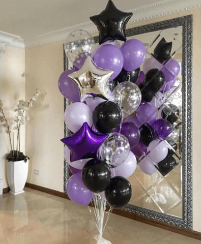 Фонтан из шаров Фиолетовый в черном