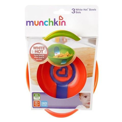 Munchkin, White Hot Bowls, Чашки с Термическими Полосками, 3 в Упаковке