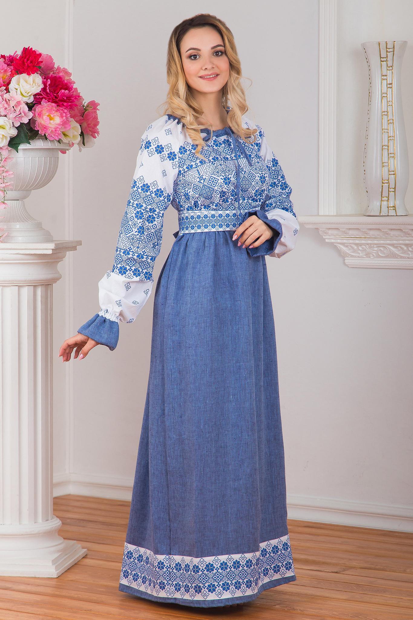 Платье Дары солнца в голубом вид сбоку