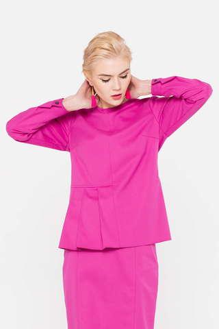 Фото розовая блузка со складками на талии справа - Блуза Г686-194 (1)