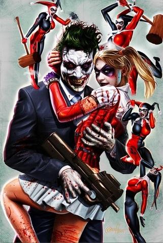 Постер Арт Джокер и Харли Квинн — Poster Art The Joker & Harley