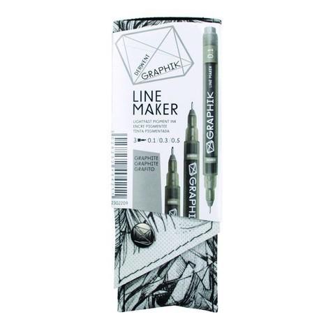 Набор капиллярных ручек Derwent Graphik Line Maker, 3шт графит