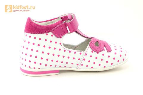 Детские туфли Котофей 232059-22 из натуральной кожи, для девочки, бело-розовые. Изображение 4 из 16.