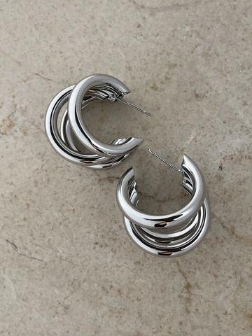 Серьги Полупереплетение мини, серебряный цвет