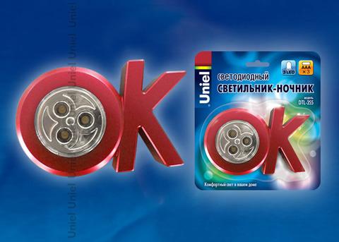 DTL-355 OK/Red/3LED/3AAA Cветильник-ночник ОК,питание от 3-х батареек AAA (в комплект не входят). Цвет -красный. Упаковка - блистер