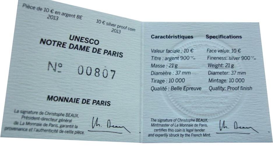 10 евро. Нотр-Дам де Пари - Собор Парижской Богоматери. Франция. 2013 г. Серебро