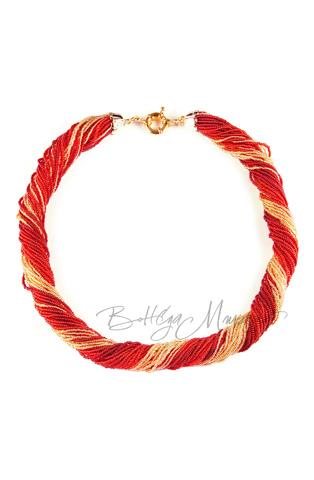 Бисерное ожерелье из 36 нитей, цвет ярко-красно-золотистый