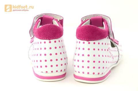Детские туфли Котофей 232059-22 из натуральной кожи, для девочки, бело-розовые. Изображение 8 из 16.