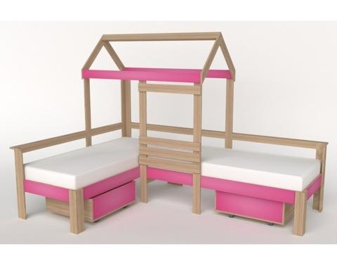 Кровать-домик АВАРА-2 со стенкой и ящиками правая