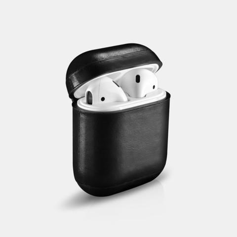 Кожаный чехол Icarer с карабином для AirPods (Черный)