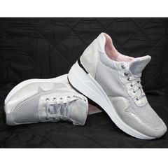 Модные женские кроссовки на танкетке Topas 4C-8045 Silver.
