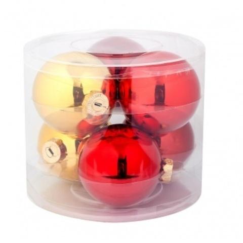 Набор шаров 6шт. (стекло), D8см,  цвет: красно-золотой микс