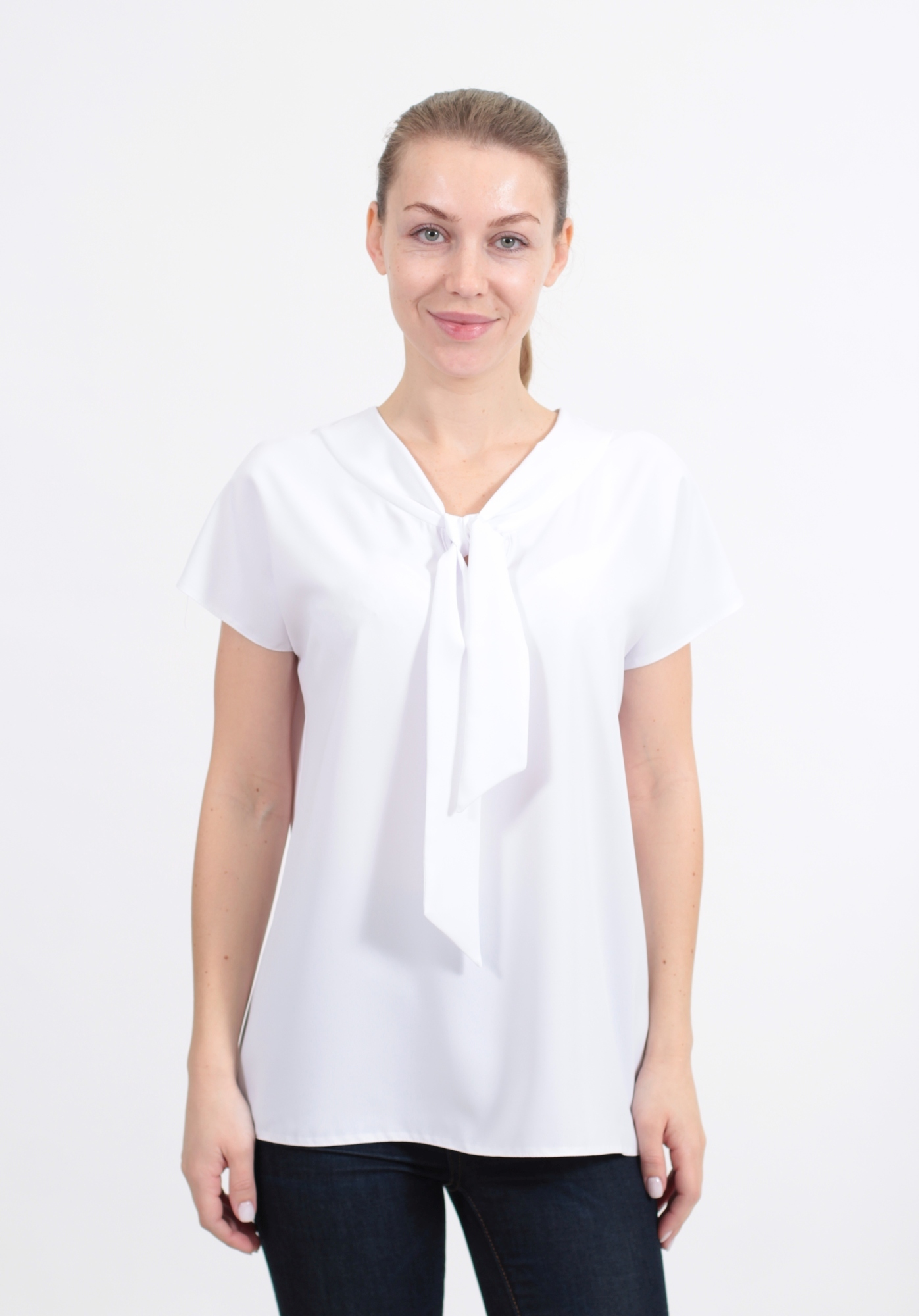 Блузка Elite 2413 галстук однотон к/р (В20)