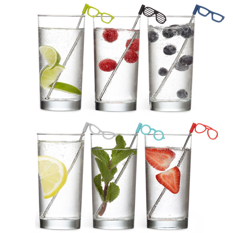 Соломинки для коктейля Glasses, 6 шт