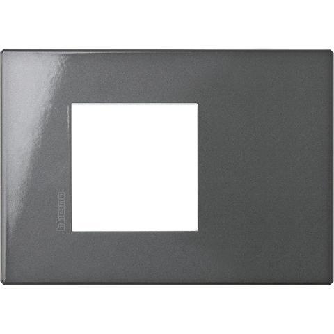 Рамка 1 пост AIR, прямоугольная форма. МОНОХРОМ. Цвет Антрацит. Немецкий/Итальянский стандарт, 2 модуля. Bticino AXOLUTE. HW4819HS