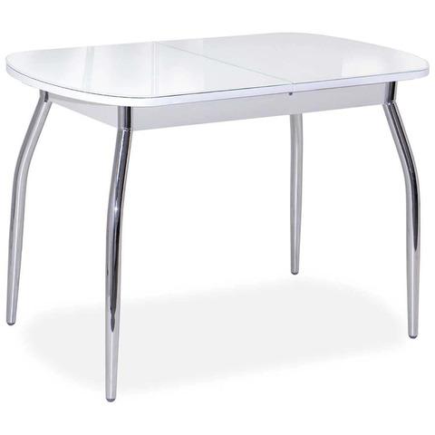 Стол Портофино-2 80х120 Белый/Рис.0 / ножки хром / 120(152)х80 см