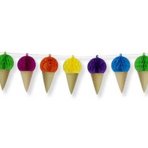 Гирлянда-мороженые бумажная, радужная 4м