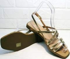 Купить женские сандали на плоской подошве Wollen M.20237D ZS Gold.