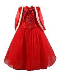 Платье праздничное красное с накидкой для девочки