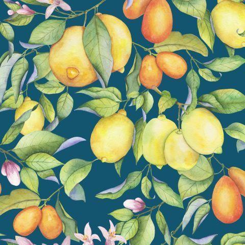Акварельные лимоны на сизом