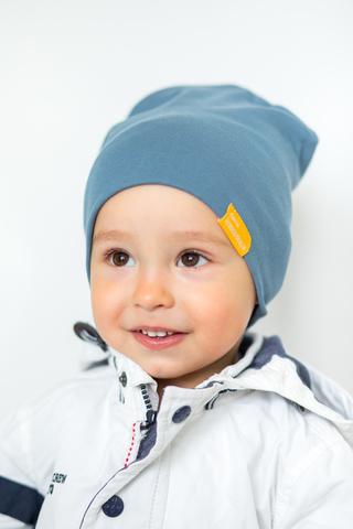 детская шапка хлопковая гладкая серо-голубая