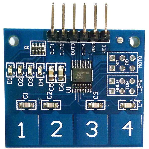 4-канальный сенсорный кнопочный модуль